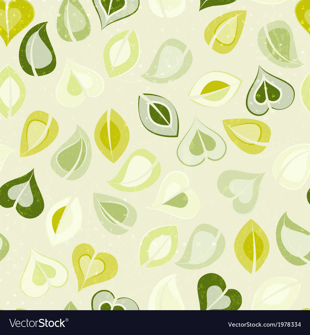 Beautiful seamless pattern with green leaves vector | Price: 1 Credit (USD $1)