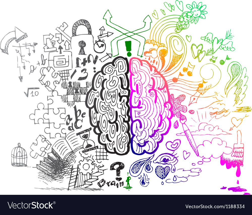Brain hemispheres sketchy doodles vector | Price: 1 Credit (USD $1)