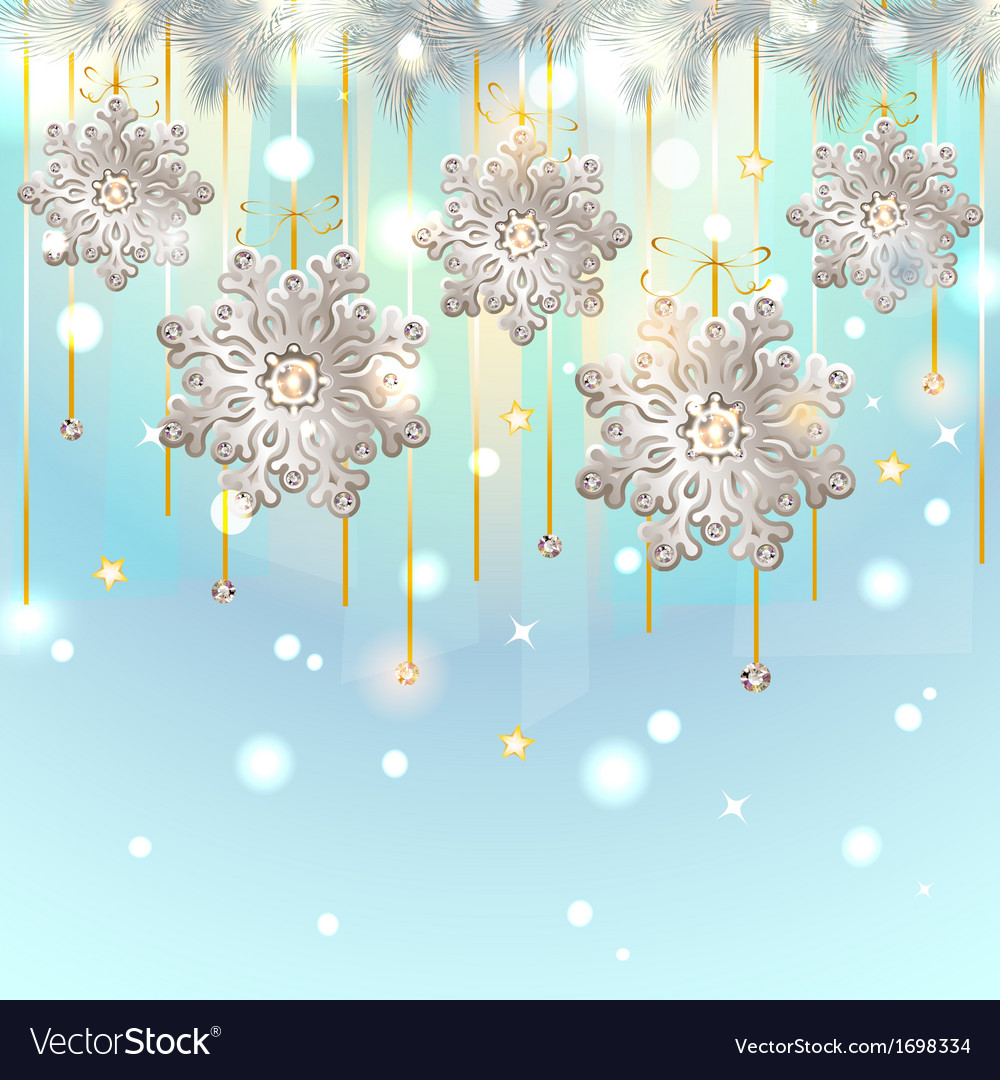Christmas card with silver snowflakes decoration vector | Price: 1 Credit (USD $1)