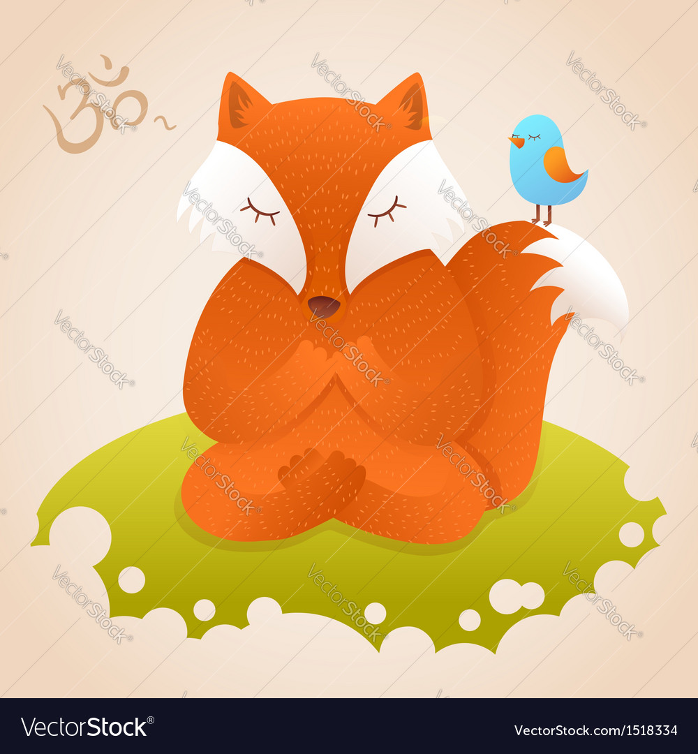 Cute fox sitting in yoga lotus pose and relaxing vector | Price: 1 Credit (USD $1)
