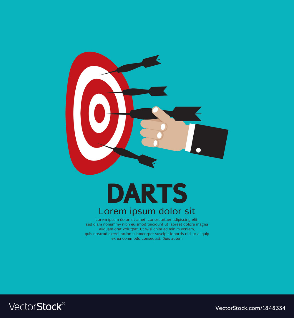 Dartboard with darts in hand vector | Price: 1 Credit (USD $1)