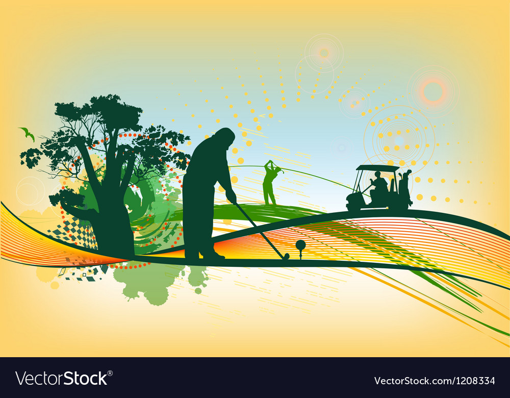 Golf silhouettes in colorful background vector | Price: 1 Credit (USD $1)