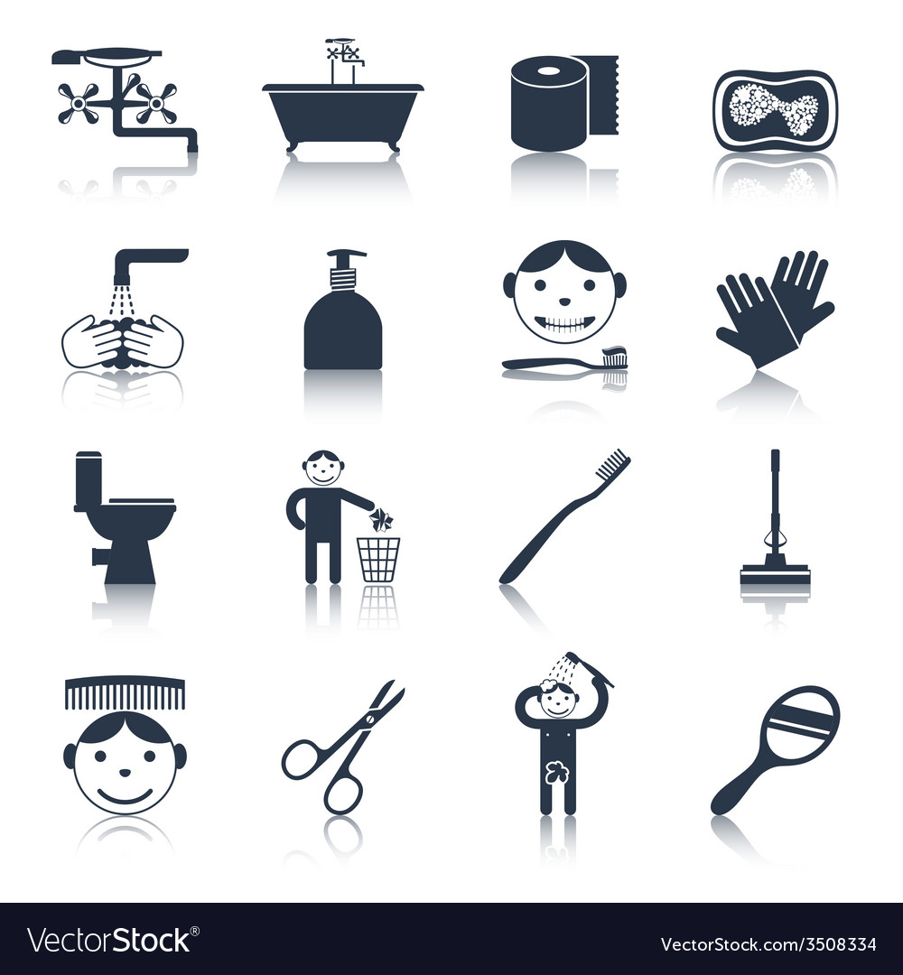 Hygiene icons black vector | Price: 1 Credit (USD $1)