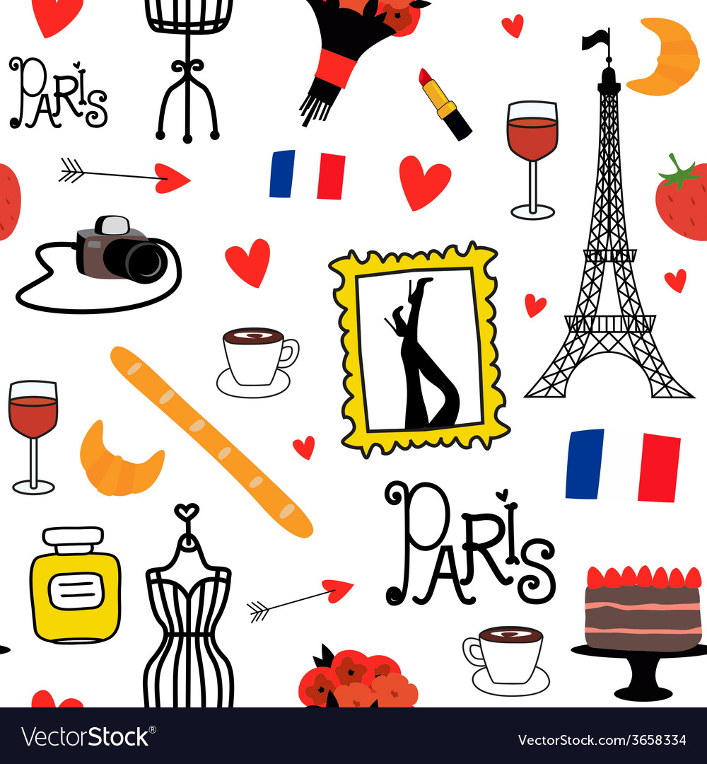 Seamles pattern with paris symbols vector | Price: 1 Credit (USD $1)