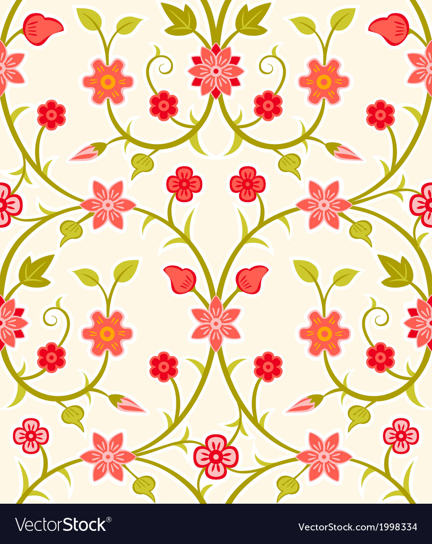 Seamless retro floral pattern vector | Price: 1 Credit (USD $1)