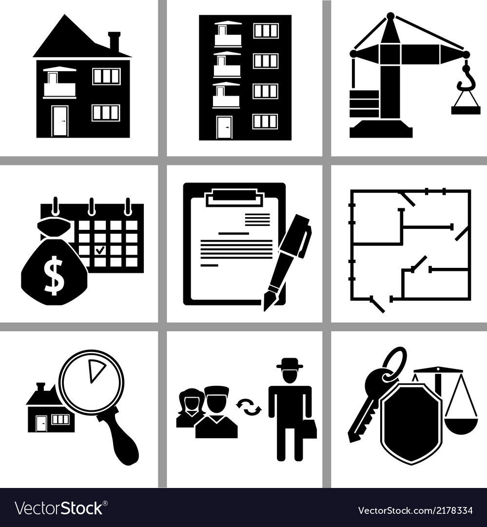 Set icon of real estate vector | Price: 1 Credit (USD $1)