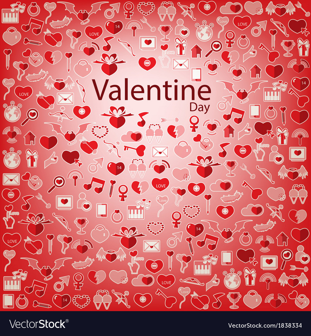 Template background valentines day love icon vector | Price: 1 Credit (USD $1)