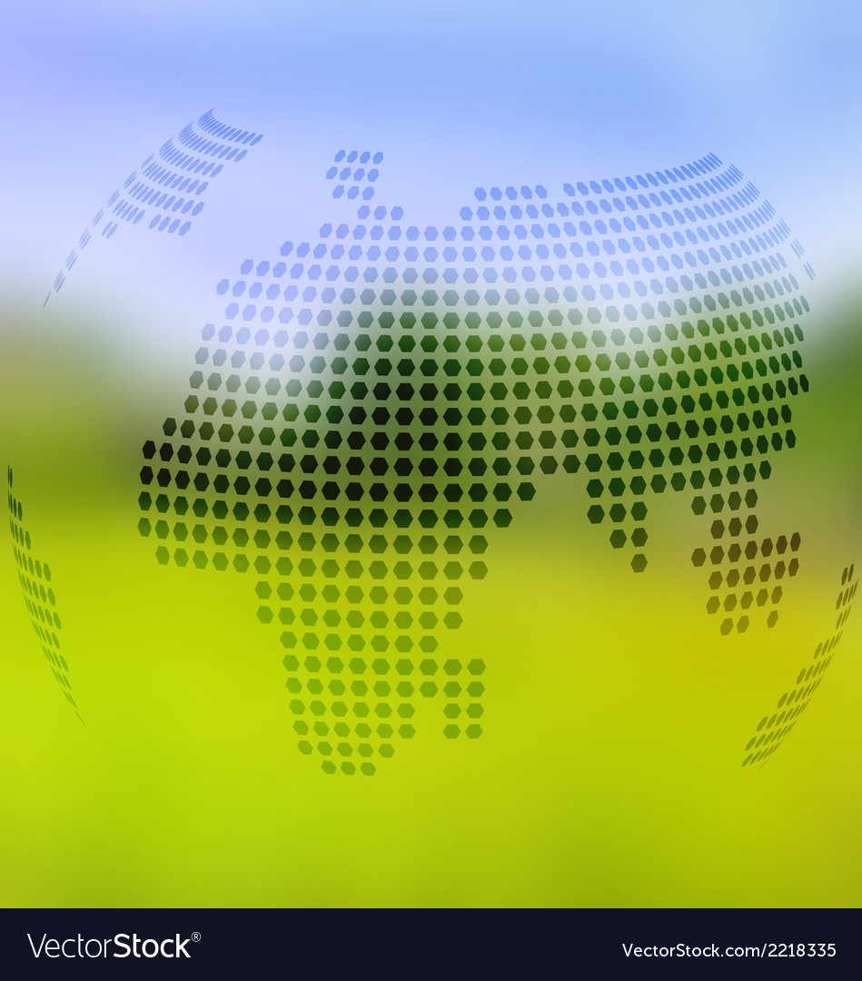 Blurred landscape background with globe map vector | Price: 1 Credit (USD $1)