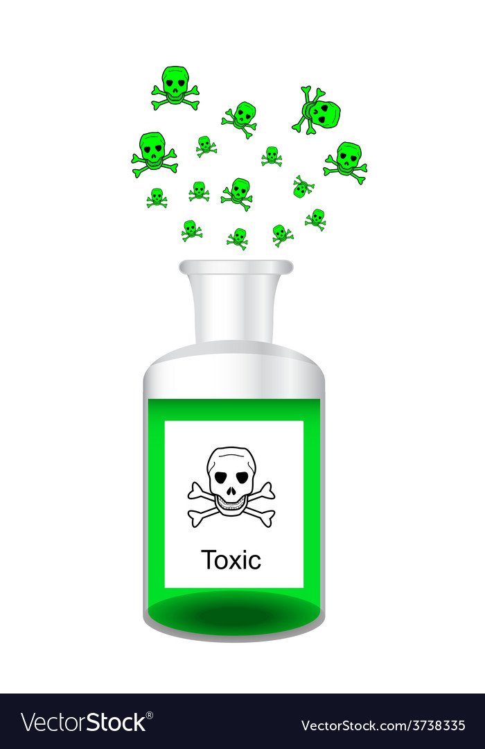 Chemical bottle with steamy toxic solution vector | Price: 1 Credit (USD $1)