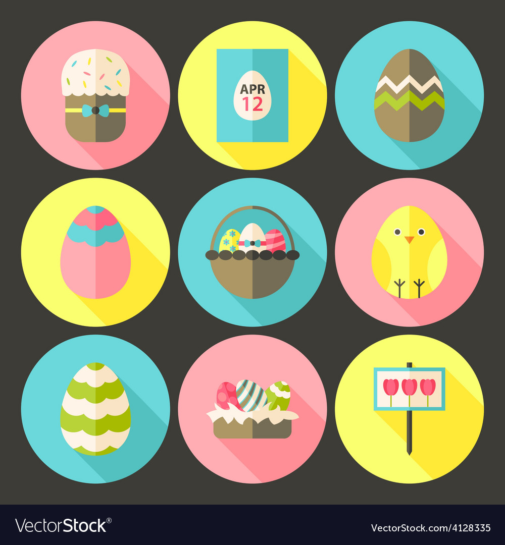 Easter flat styled circle icon set 1 with long vector | Price: 1 Credit (USD $1)