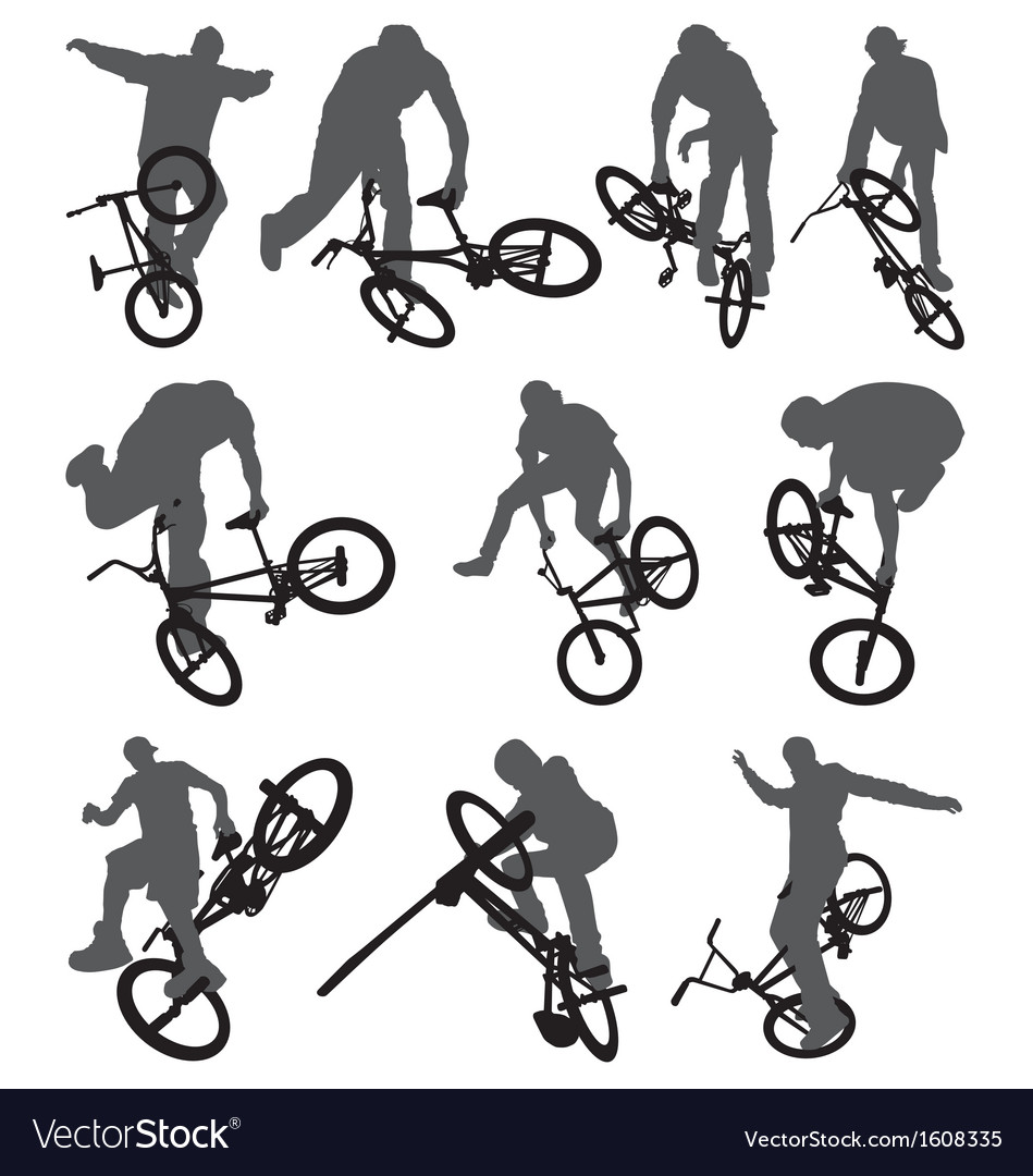 Flatland bmx silhouettes vector | Price: 1 Credit (USD $1)