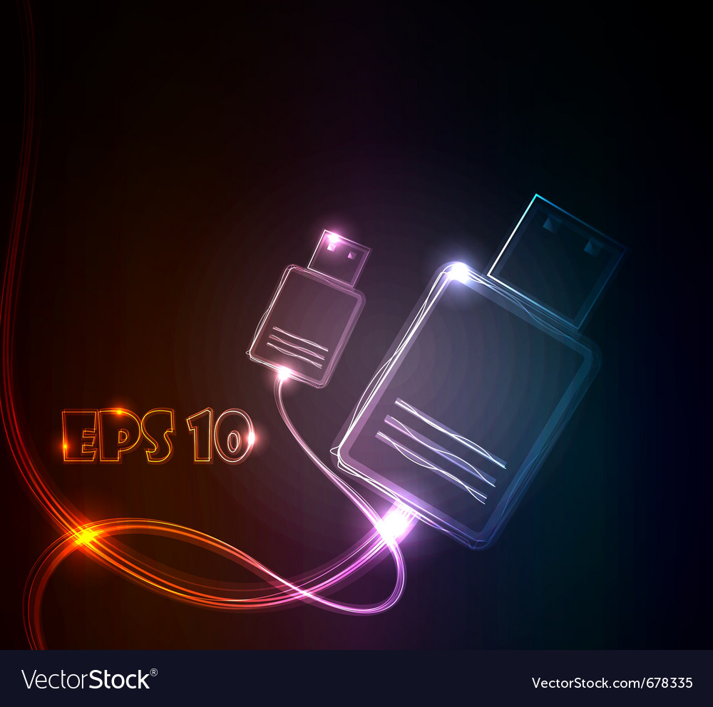 Glowing usb vector | Price: 1 Credit (USD $1)