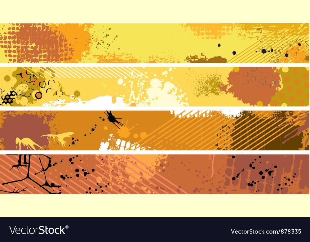 Grunge orange banner set vector | Price: 1 Credit (USD $1)