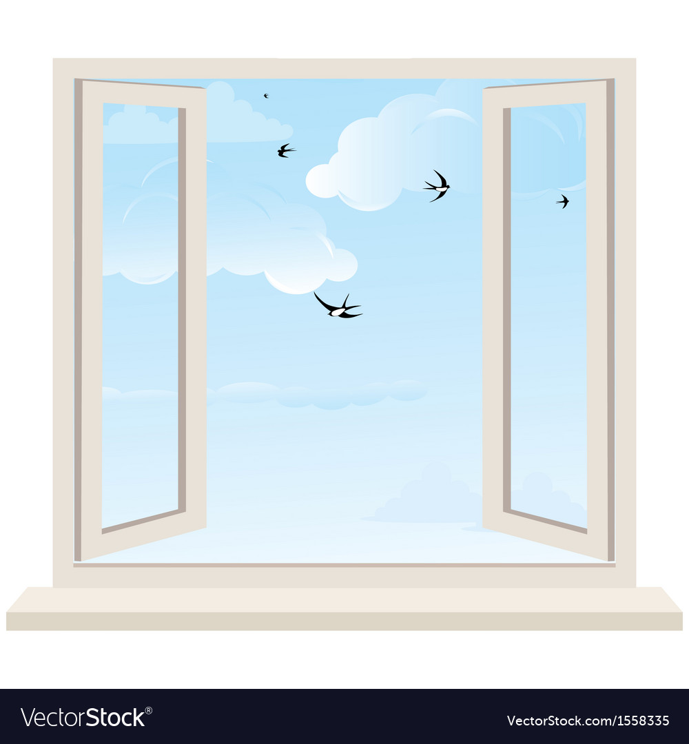 Open window on wall and cloudy sky with birds swal vector | Price: 1 Credit (USD $1)
