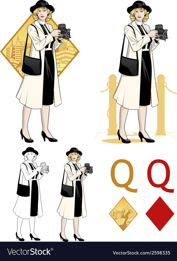 Queen of diamonds caucasian woman photographer vector | Price: 3 Credit (USD $3)