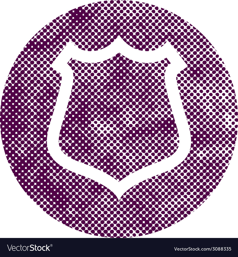 Safety shield icon with pixel print halftone dots vector | Price: 1 Credit (USD $1)