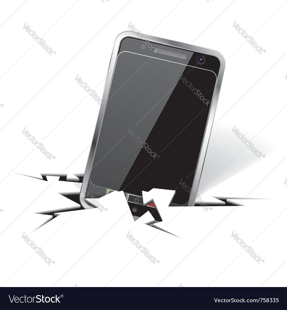 Smartphone in crack vector | Price: 1 Credit (USD $1)