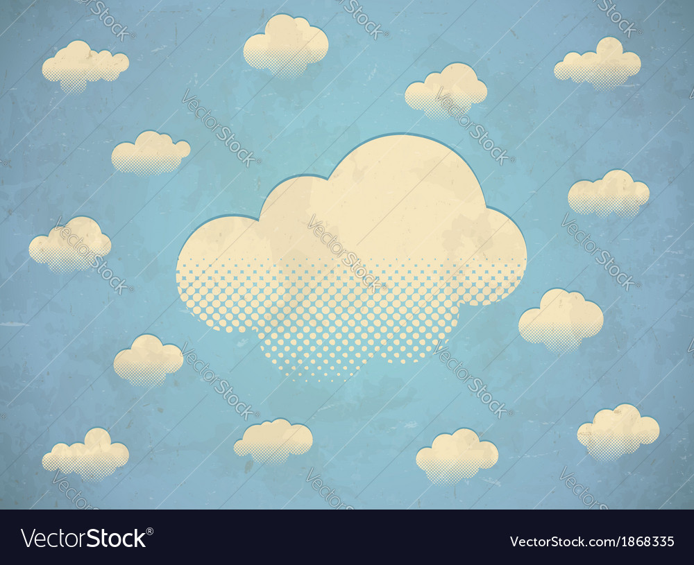 Vintage aged card with white clouds in the sky vector | Price: 1 Credit (USD $1)