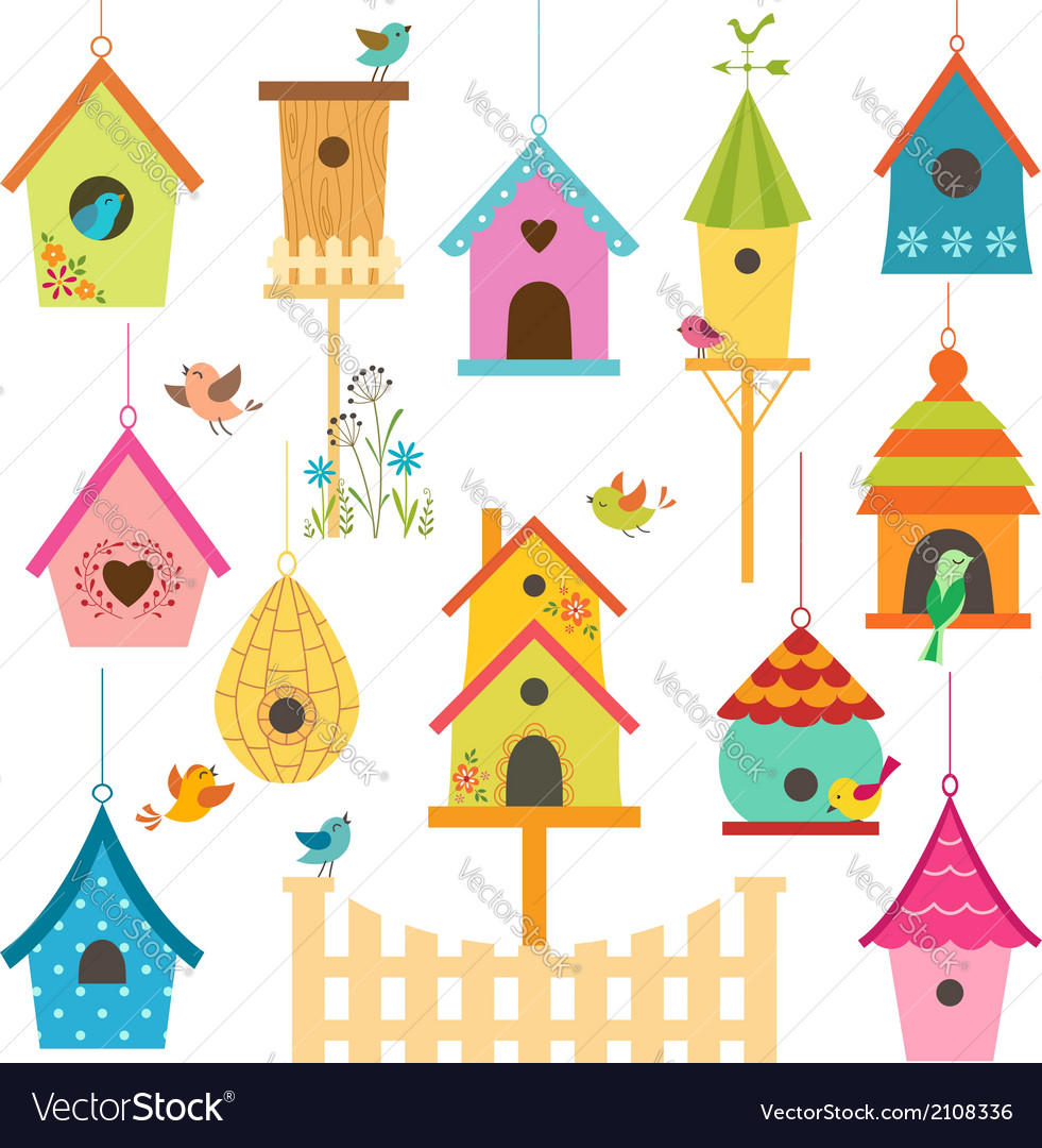Bird houses vector | Price: 1 Credit (USD $1)