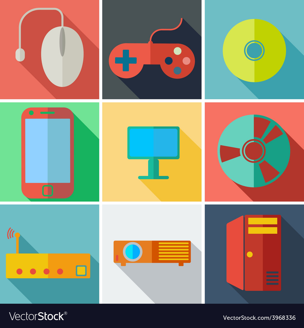 Collection modern flat icons computer mobile vector | Price: 1 Credit (USD $1)