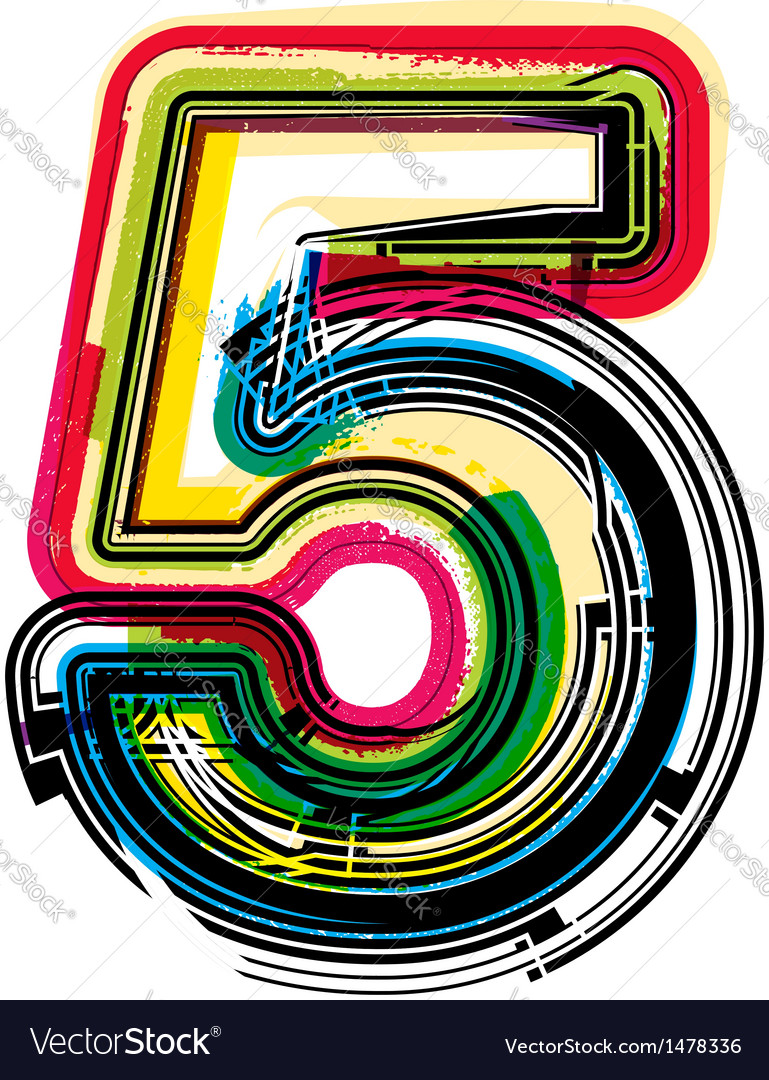 Colorful grunge font number 5 vector | Price: 1 Credit (USD $1)