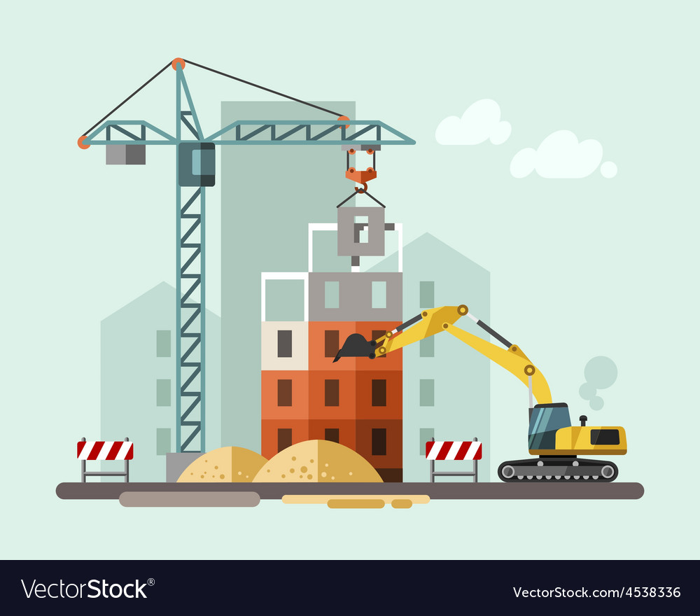 Construction site building a house vector | Price: 3 Credit (USD $3)