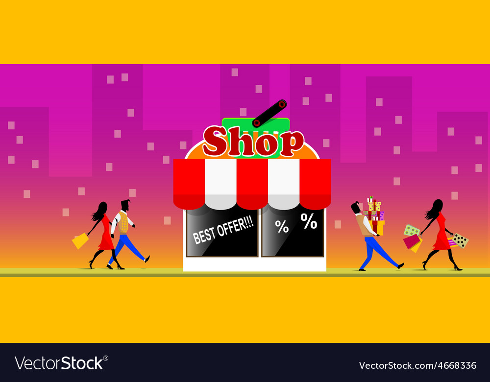 Couple walking out of a store vector | Price: 1 Credit (USD $1)
