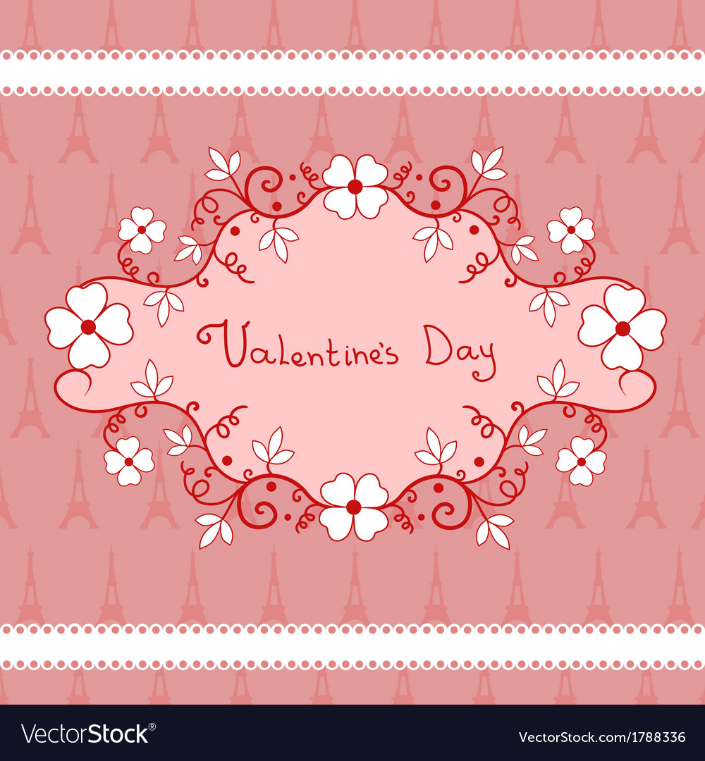 Romantic vignette with flowers valentines day vector | Price: 1 Credit (USD $1)