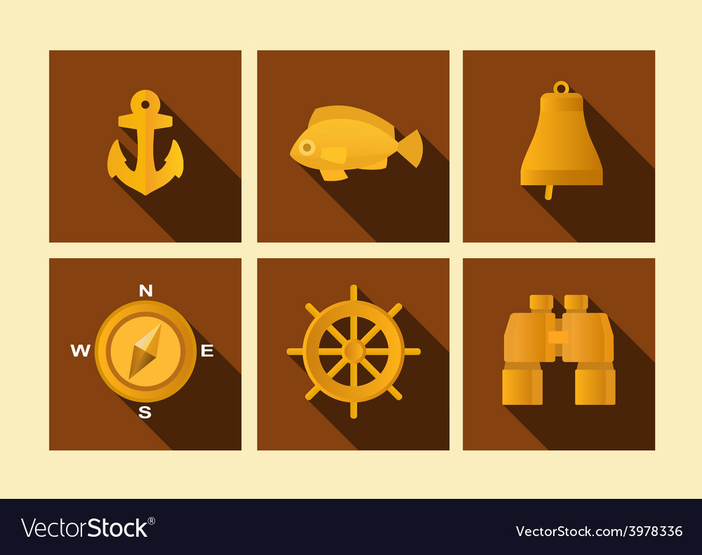 Set of icons of sea subject in flat style vector | Price: 1 Credit (USD $1)