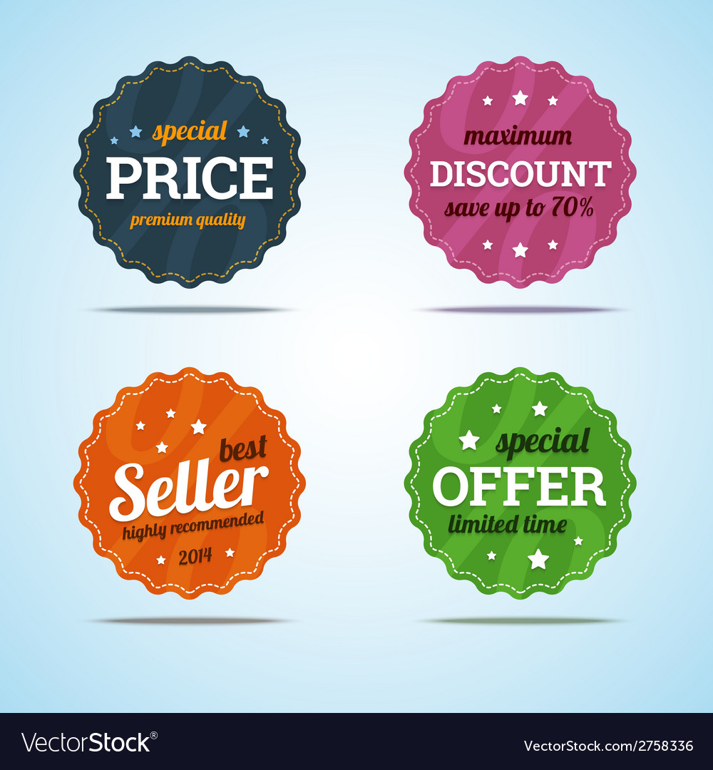 Special set of premium sale badges in flat style vector | Price: 1 Credit (USD $1)