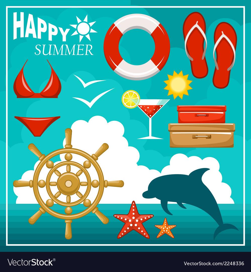 Summer beach set vector | Price: 1 Credit (USD $1)