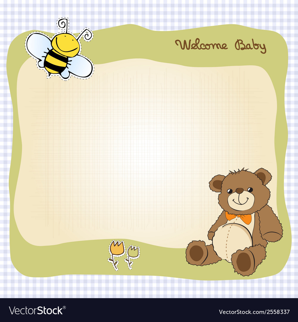 Baby shower card with cute teddy bear toy vector | Price: 1 Credit (USD $1)