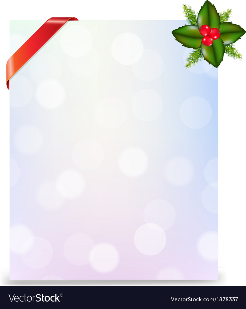 Banner with red ribbon and bokeh with holly berry vector   Price: 1 Credit (USD $1)