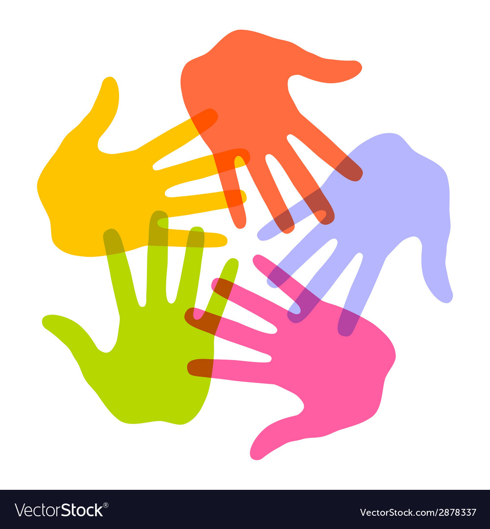 Colorful hand print icon 5 colors vector | Price: 1 Credit (USD $1)