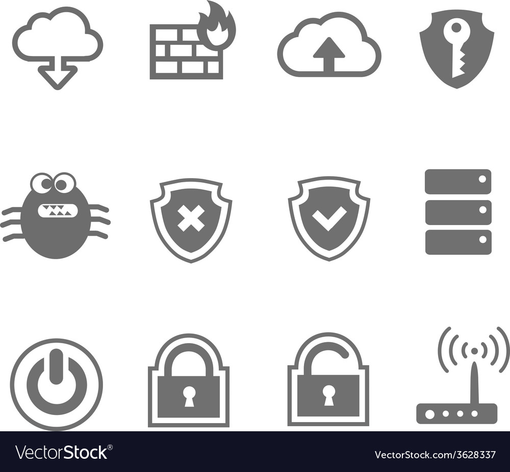 Computer network icon set vector | Price: 1 Credit (USD $1)