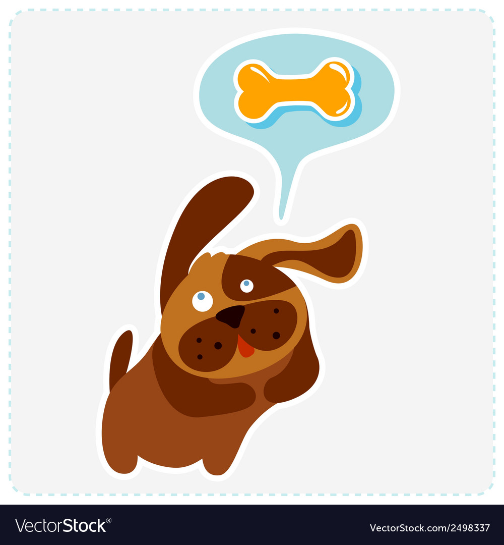 Cute cartoon dog is thinking bone vector | Price: 1 Credit (USD $1)