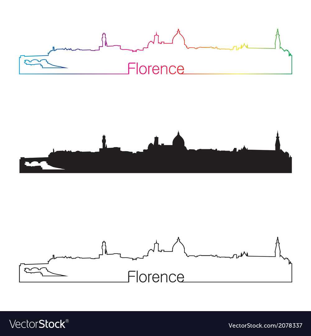 Florence skyline linear style with rainbow vector | Price: 1 Credit (USD $1)