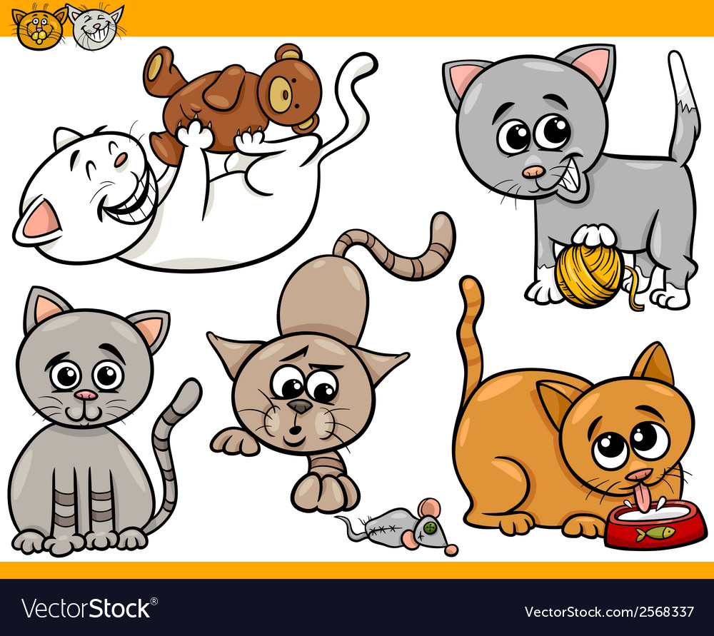 Happy cats cartoon set vector | Price: 1 Credit (USD $1)