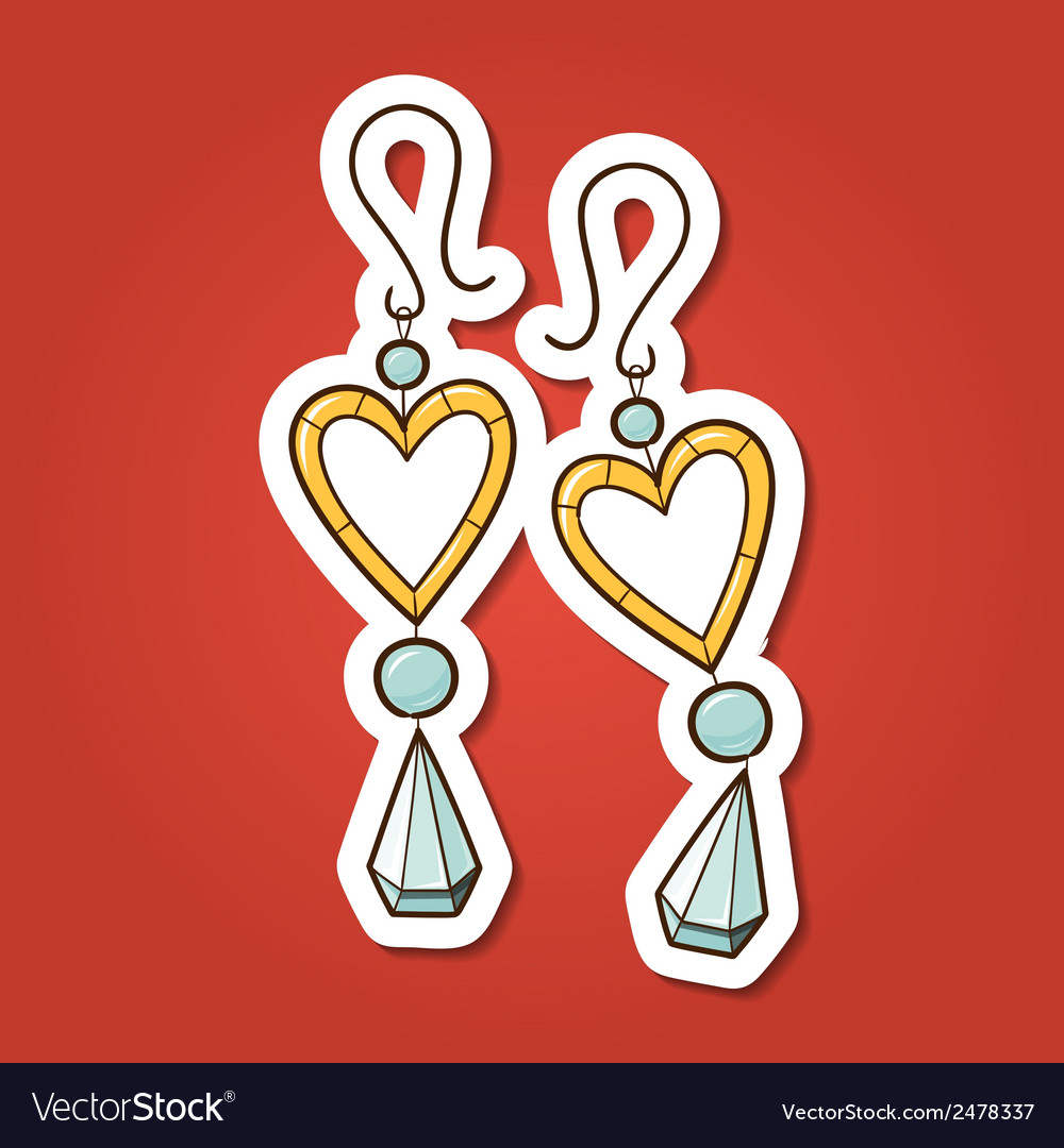 Hearts earrings vector | Price: 1 Credit (USD $1)