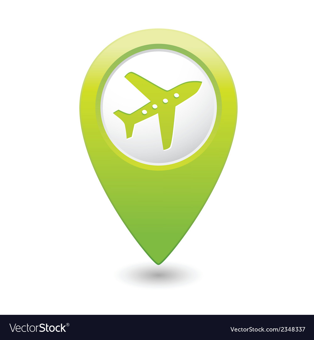 Plane icon on map pointer green vector | Price: 1 Credit (USD $1)