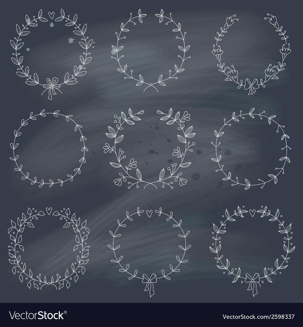 Set of 9 hand drawn wreaths on blackboard vector | Price: 1 Credit (USD $1)