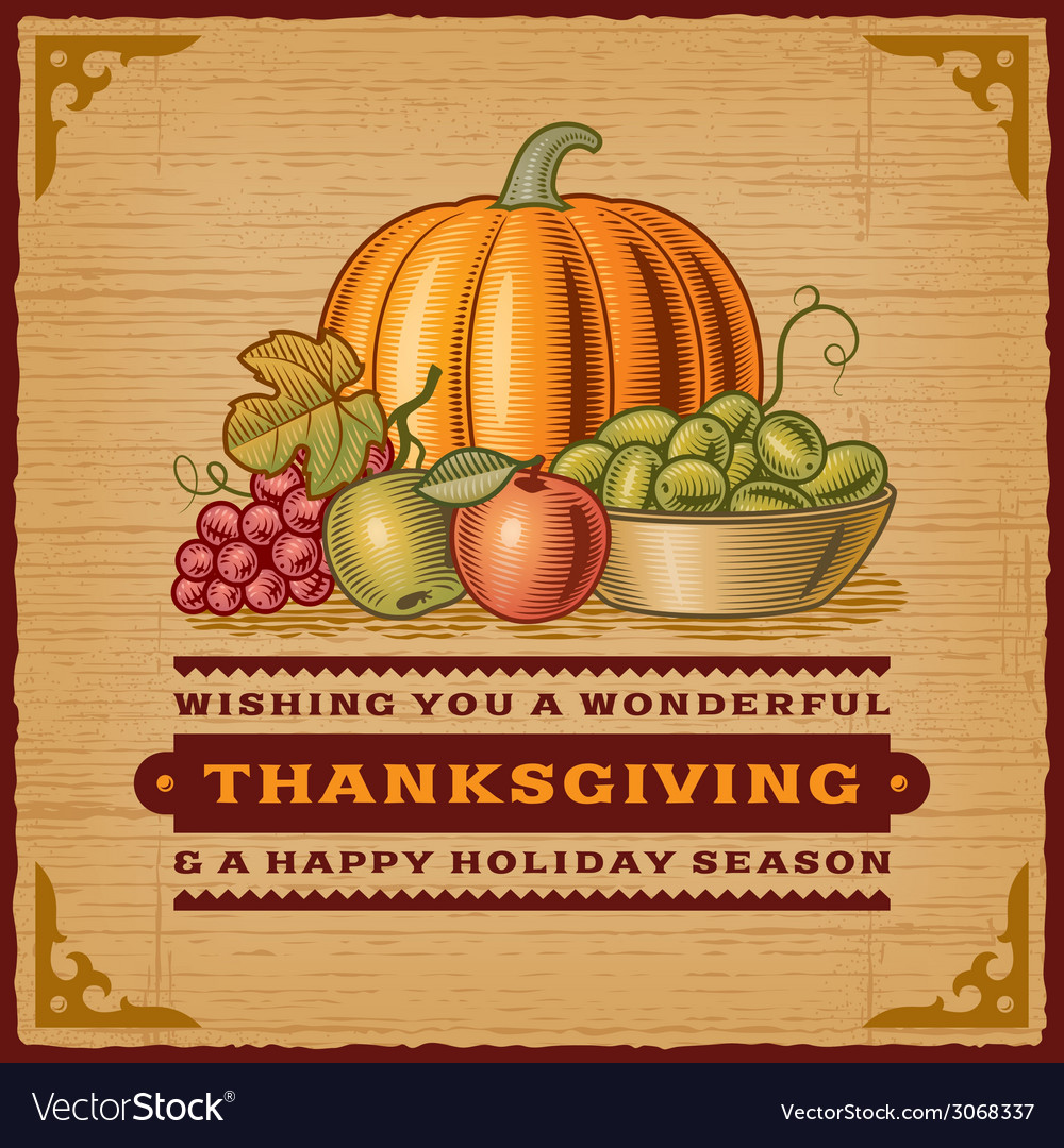 Vintage thanksgiving card vector | Price: 1 Credit (USD $1)
