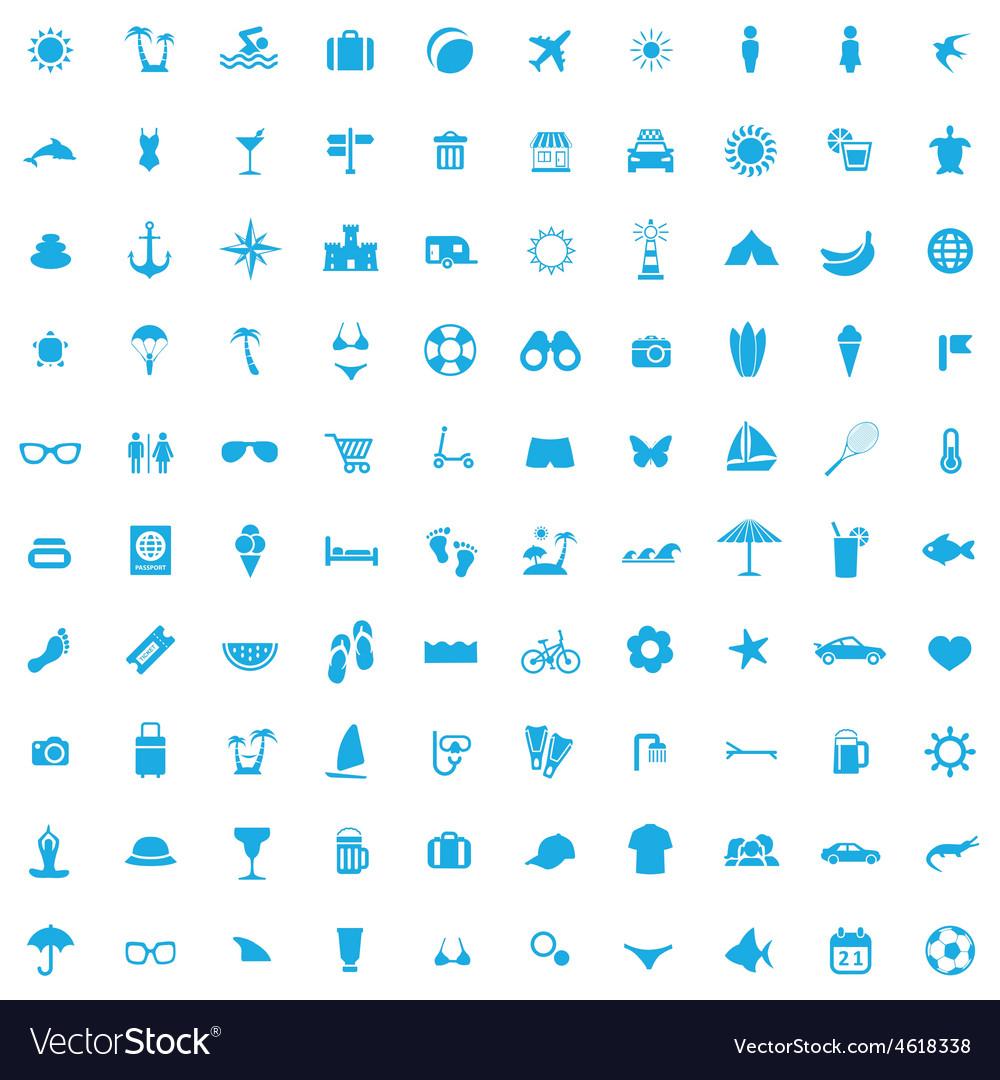 100 beach icons vector | Price: 1 Credit (USD $1)