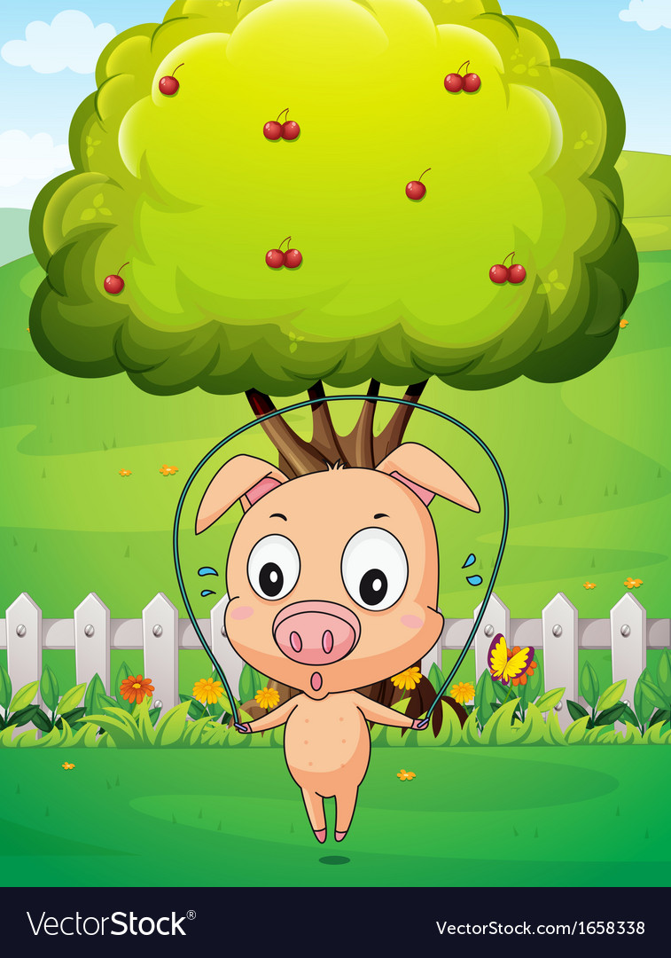 A pig playing skipping rope near the tree vector | Price: 3 Credit (USD $3)