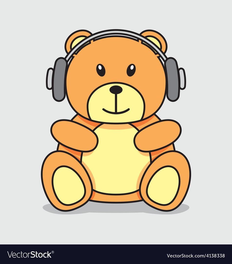 Bear listening music vector | Price: 1 Credit (USD $1)