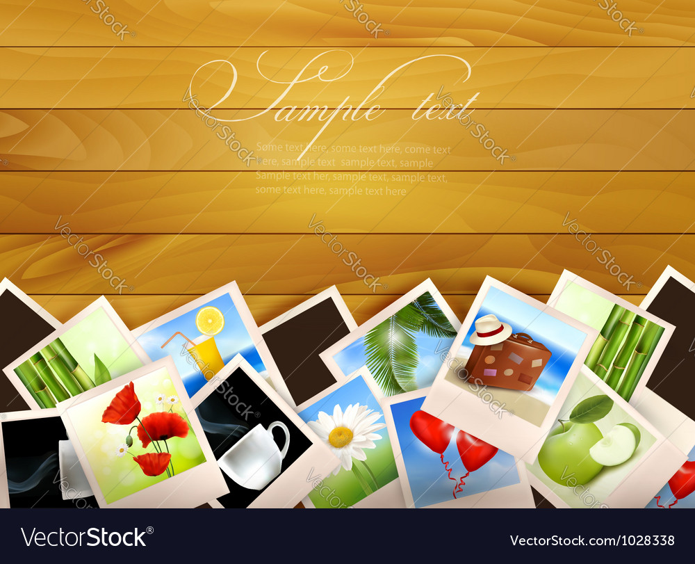 Colorful photos on wooden background vector | Price: 3 Credit (USD $3)
