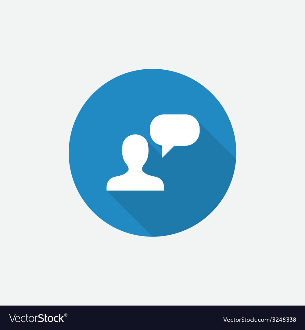 Conversation flat blue simple icon with long vector | Price: 1 Credit (USD $1)