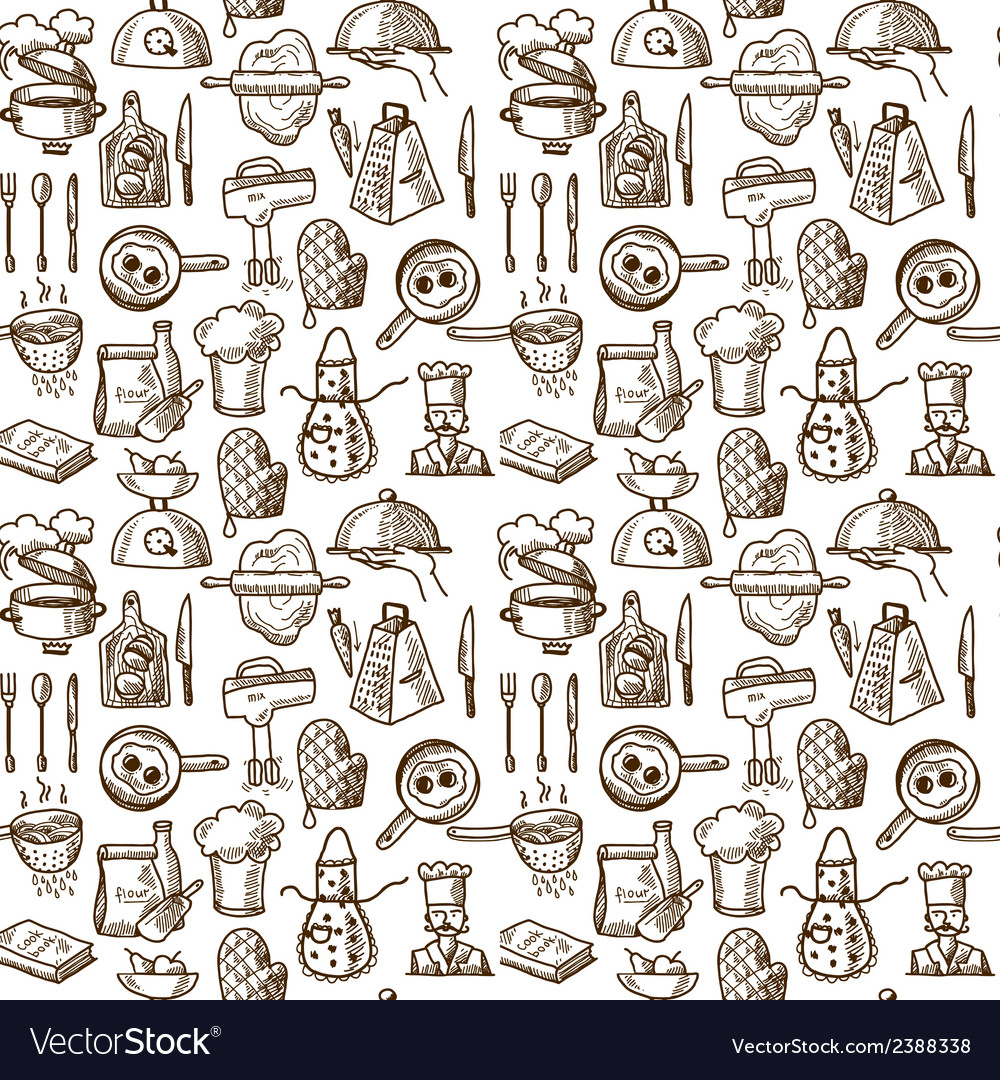 Cooking icons seamless pattern vector | Price: 1 Credit (USD $1)