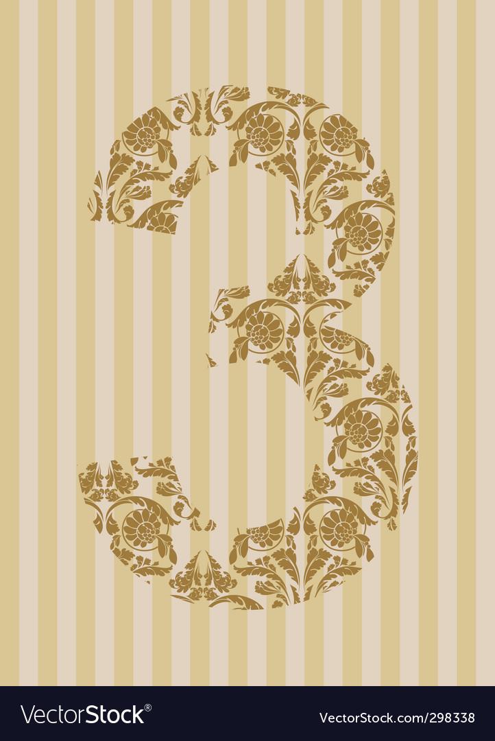 Floral font number vector | Price: 1 Credit (USD $1)