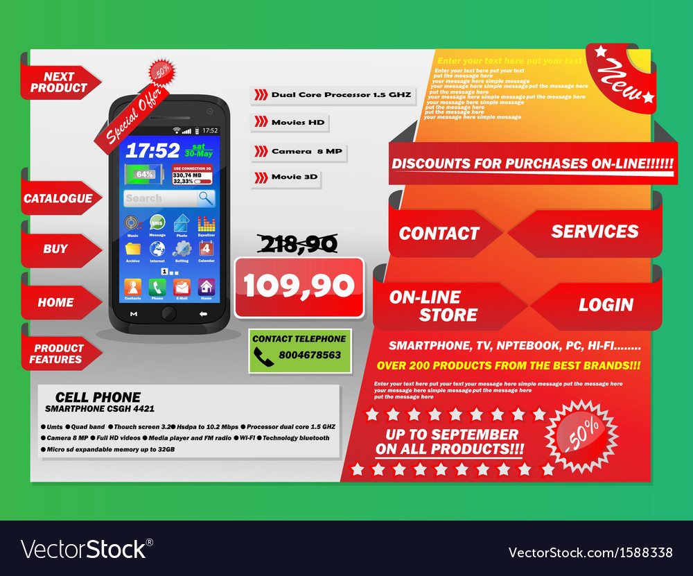 Infographics cell flyer christmas offer vector | Price: 1 Credit (USD $1)